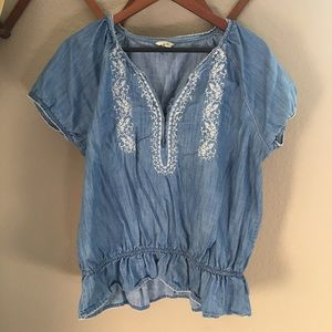 Tops - Somoma Chambray Blouse with embroidery